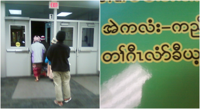 #14- Speaking with Burmese parents  about our school's ESL program and assessments at a parent meeting (yes, I was slightly stalker-like when I got this photo- pictures help solidify memories, after all!)