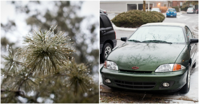 #23- An ice storm and a car without ice on it (thanks to my brother's garage overnight)