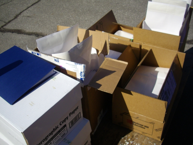 #31- Packing up 435 English language assessments from our school and taking them downtown.