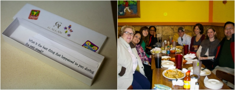 #32- Going out for Mexican with friends from work and using my conversation starters present to talk about things other than school.