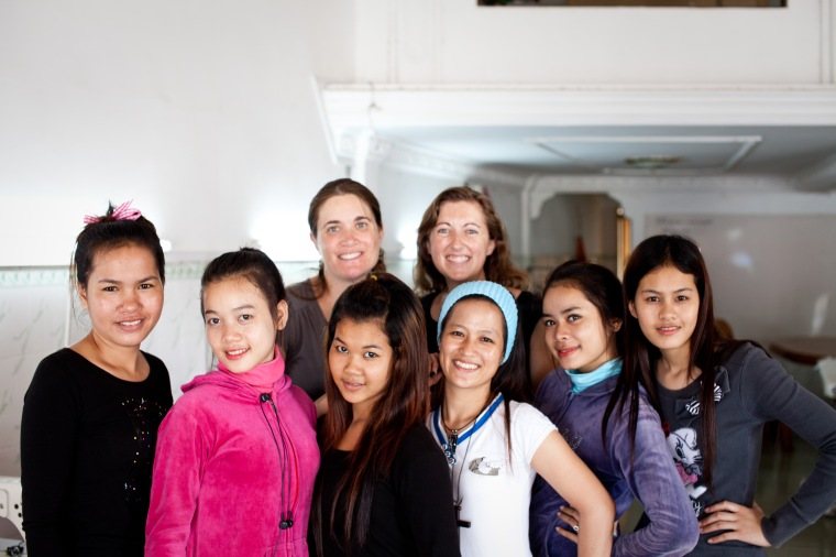 Katy and I with some of the Daughters after English class.