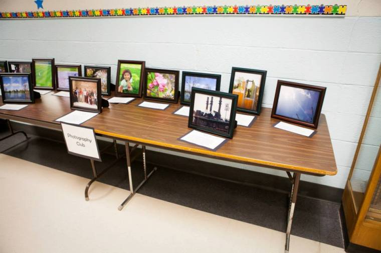 Here is part of the display of students' (plus a couple from my trip) photos at the school program.