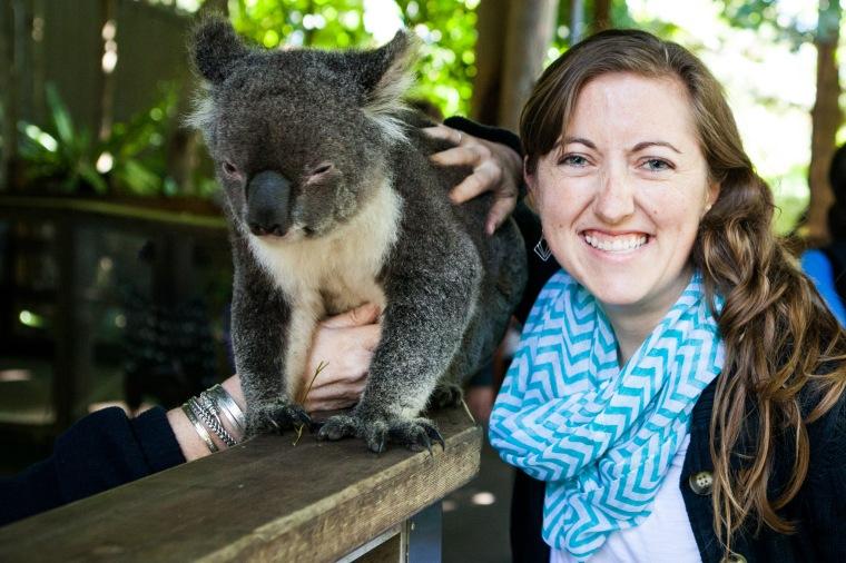 The American's turn to pat the koala.