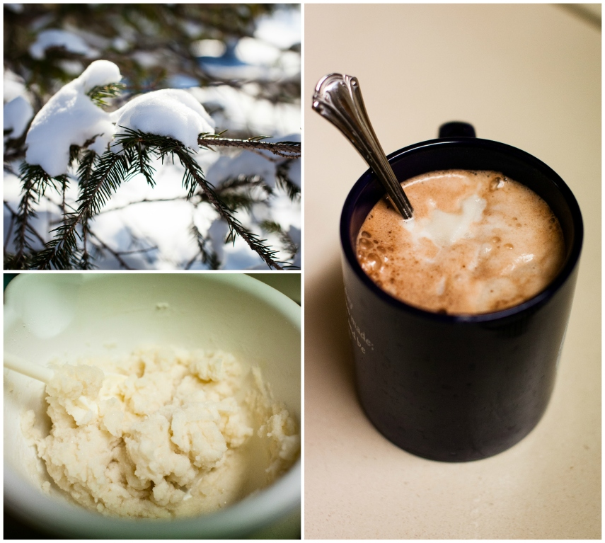 #13-  Enjoying a Valentine's Day snow and some snow ice cream in my hot chocolate