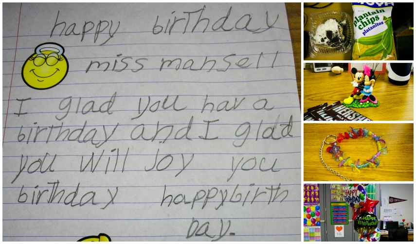 #18- Receiving birthday cards and presents at school from students and friends who know me well