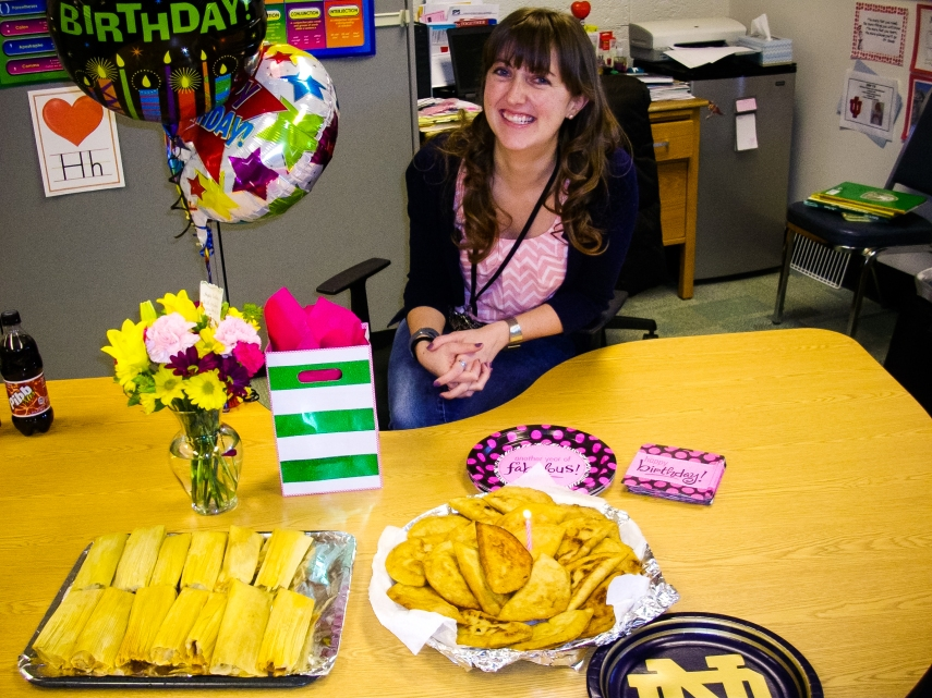 #19-  Blowing out a candle on an empanada birthday cake.  Thanks for the lunch feast, Kim!