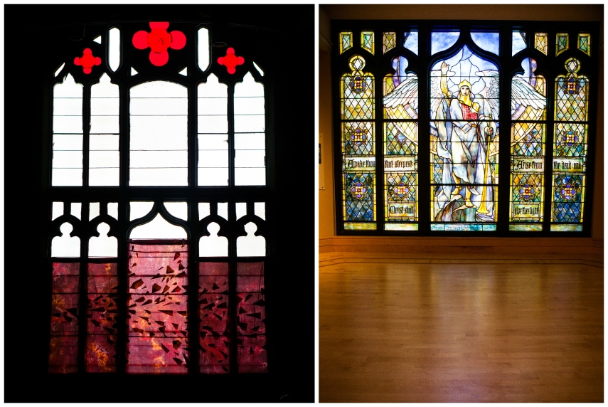 #24-  Seeing the stained-glass window from Benjamin Harrison's wife (on the right) that used to be in my church (current window on left)