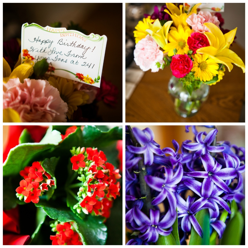 #25-  Flowers from family and friends- smelling springtime in my apartment.