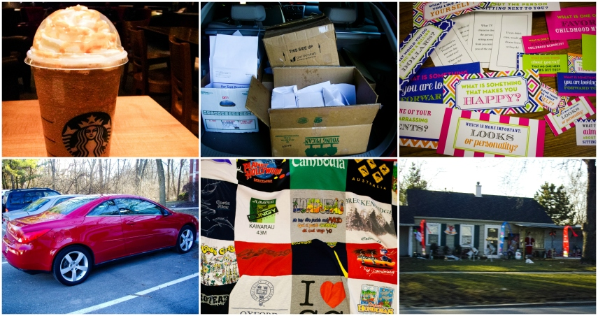 #30- Randomness (I couldn't really stick to just 33 things): free starbucks birthday drink, finishing our students' English language testing, conversation starters from friends, my washed car, my t-shirt quilt, and the house on Georgetown that kept their Christmas decor up until March