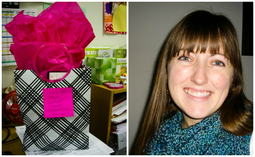 #4- A birthday month present on the first February school day.  Thanks for the handmade scarf, Stefanie!
