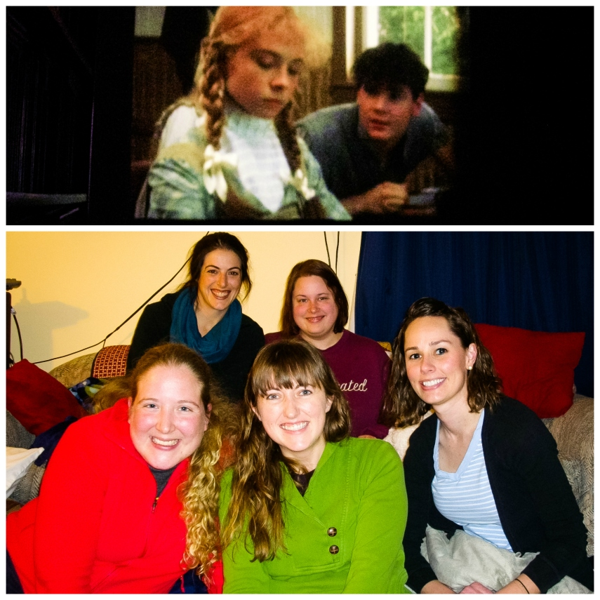 #7-  Anne of Green Gables projected on the wall and a great time with some girls from my church Community Group.