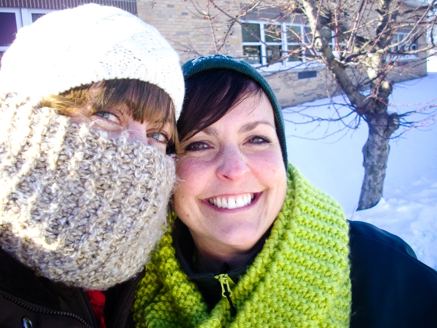 #8-  Surviving a half hour of car-rider duty outside in freezing temperatures each day with friends like this one.