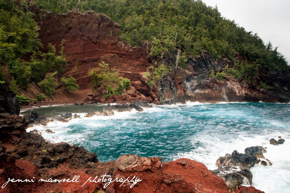 Red Sand Beach on Kaihalulu Bay- I love the red and turquoise.