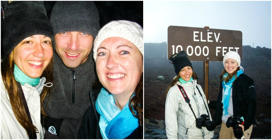 Shara, Mike and I waiting for the sun to rise on the Haleakala Summit.  It was cold at 10,000 feet (hence the reason Sam was staying warm in the overlook shelter).