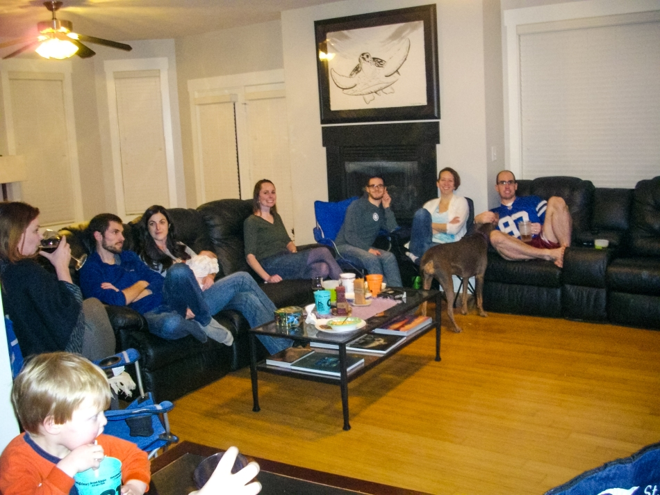 #1- Watching the Super Bowl with my community group from church  (All fun, except for the ending!)