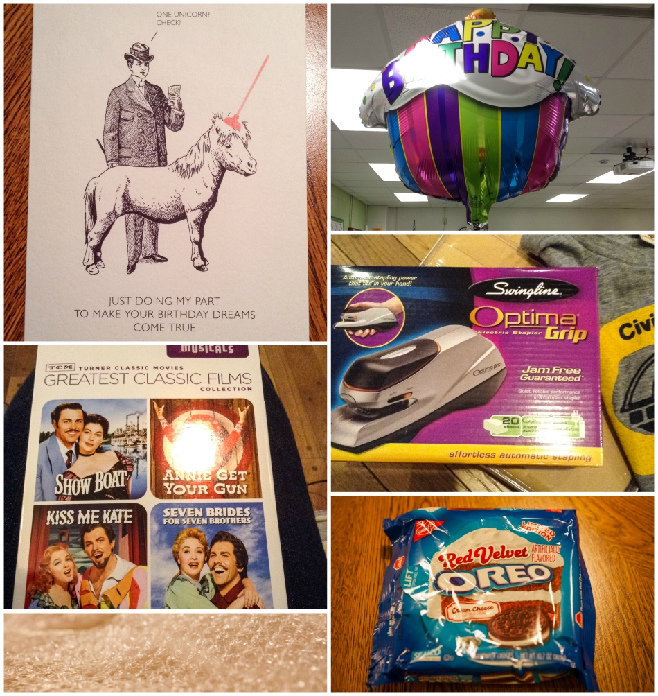 #21- A whole lot of randomness that made me happy this month: hilarious bday card, a few musicals I watched with my parents, bubble wrap, a balloon from my friend at work, useful gifts like a stapler and sheets, and Oreos.