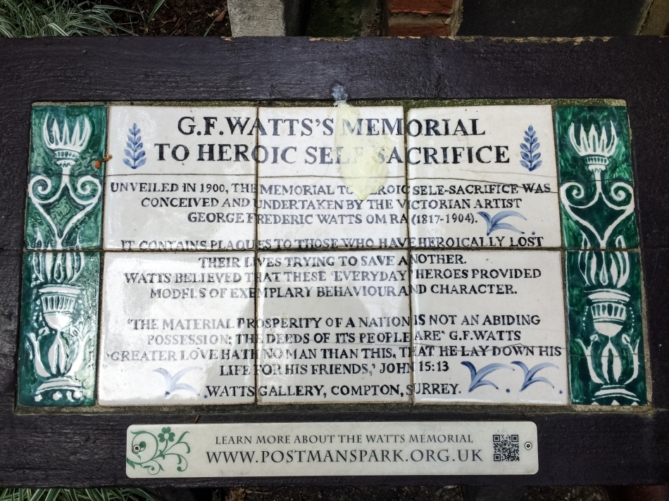 This memorial display is in Postman's Park and I found it to be such a beautiful, tragic glimpse into the past.