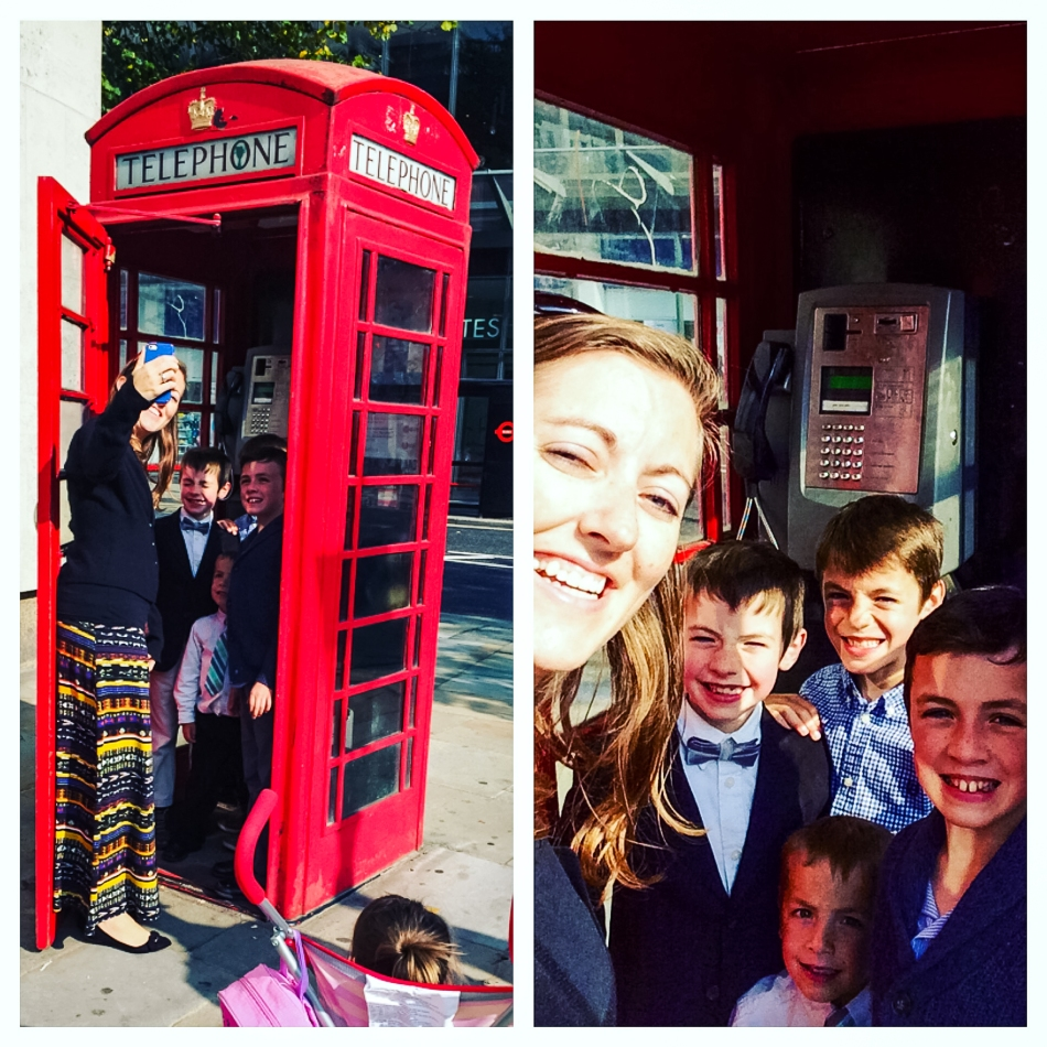 Of course we had to get a phone booth photo! Many thanks to my mom for capturing the photo of the photo-taking. :)