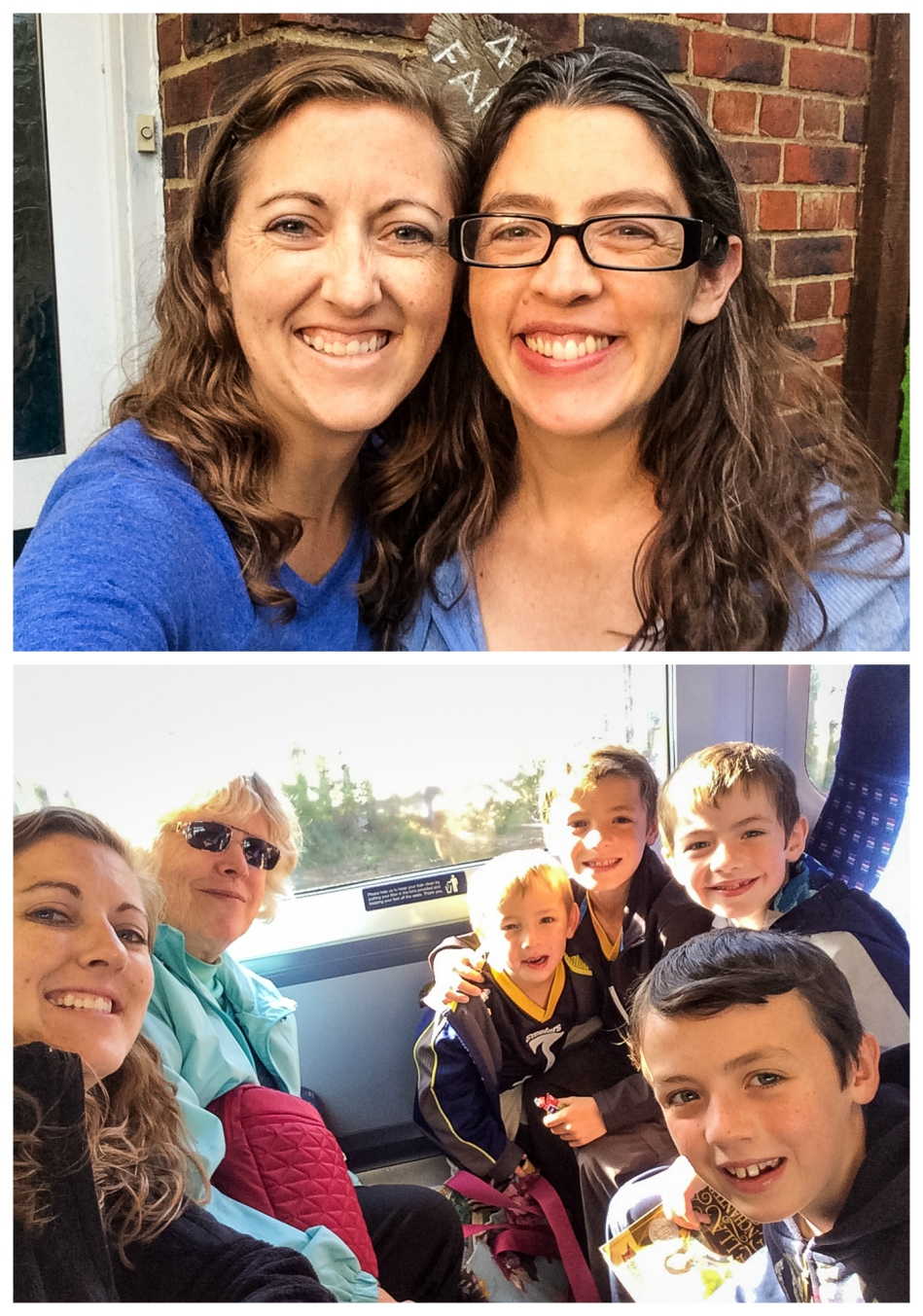 Finally got a sister photo! The next day Mom and I took the boys to Windsor Castle on the train.