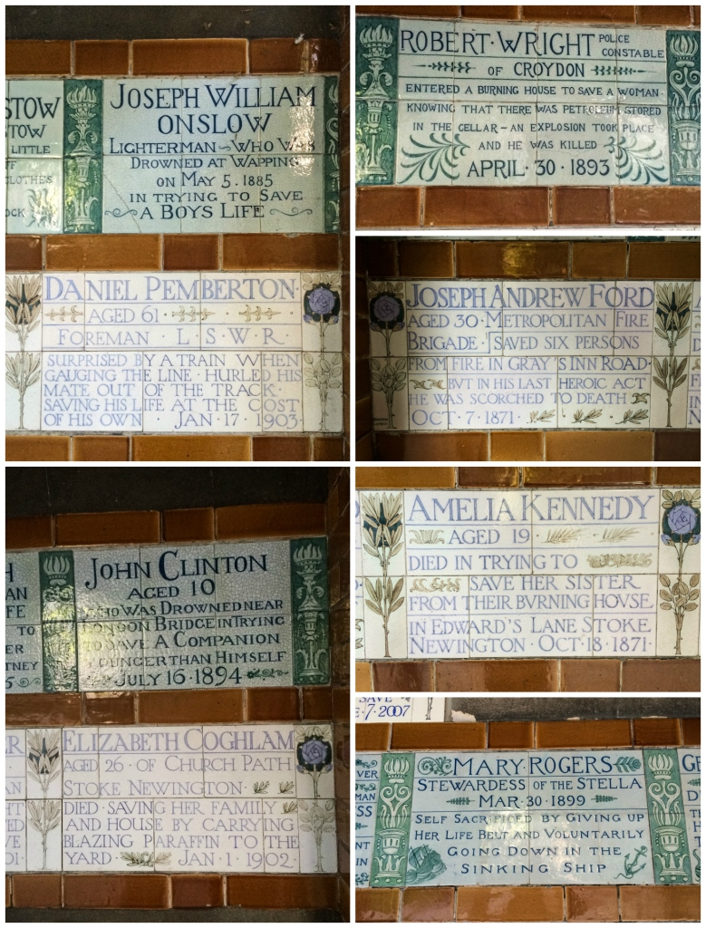 Here are some samples of the tiles displayed at the memorial. I was struck by the ages of the people who passed away, as well as the graphic descriptions of their passing.