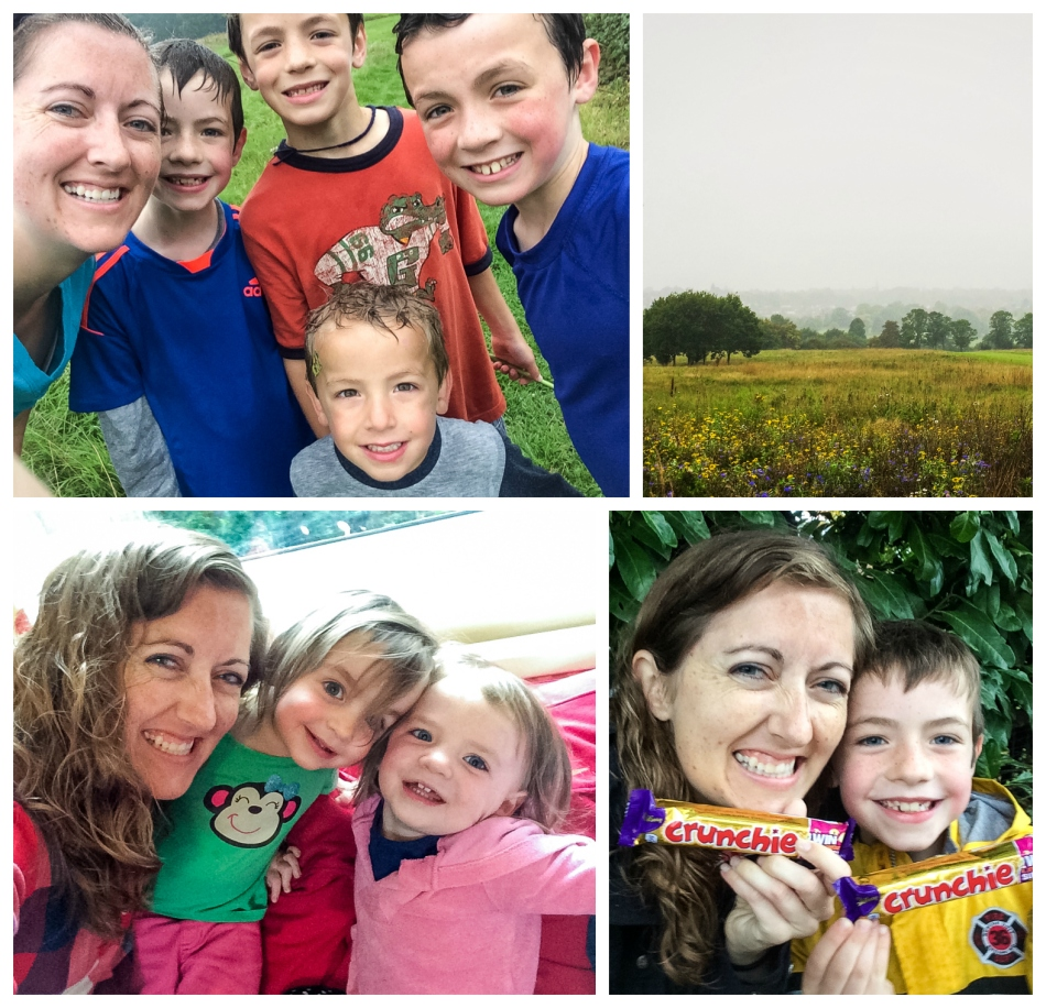 A run in the rain with my nephews, a foggy day in London town, hanging with my twin nieces, and a trip to the pharmacy with one nephew where my love of Cadbury chocolate was renewed. :)